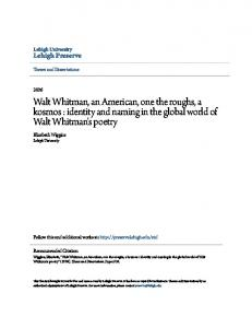 Walt Whitman, an American, one the roughs, a kosmos : identity and naming in the global world of Walt Whitman's poetry