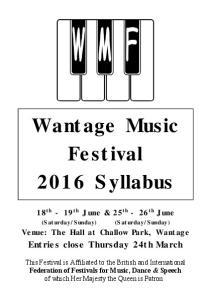 Wantage Music Festival 2016 Syllabus
