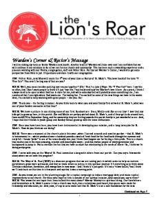 Warden s Corner & Rector s Message
