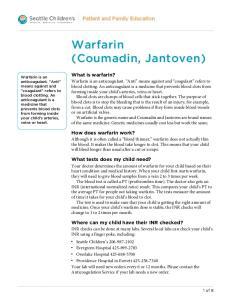 Warfarin (Coumadin, Jantoven)