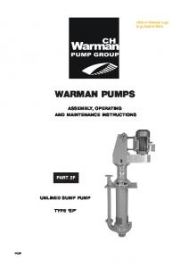 WARMAN PUMPS ASSEMBLY, OPERATING AND MAINTENANCE INSTRUCTIONS PART 2F UNLINED SUMP PUMP TYPE SP PC2F