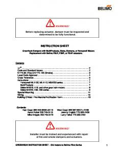 WARNING! Before replacing actuator, damper must be inspected and determined to be fully functional. INSTRUCTION SHEET