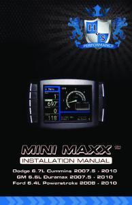 WARNING! Mini Maxx Installation Manual