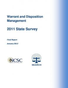 Warrant and Disposition Management State Survey. Final Report. January 2012