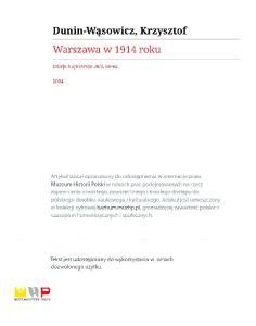 Warszawa w 1914 roku