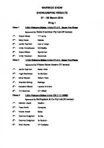 WARWICK SHOW SHOWJUMPING RESULTS March Ring 1