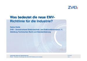 Was bedeutet die neue EMV- Richtlinie für die Industrie?