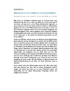 WAS BEDEUTET DIE THEOSOPHIE IN DER GEGENWART?