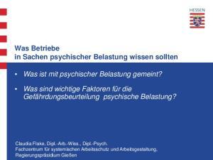 Was Betriebe in Sachen psychischer Belastung wissen sollten. Was ist mit psychischer Belastung gemeint?