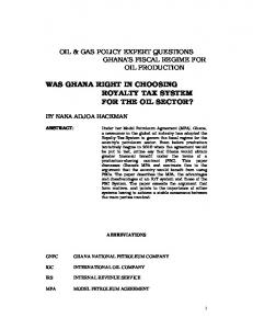 WAS GHANA RIGHT IN CHOOSING ROYALTY TAX SYSTEM FOR THE OIL SECTOR?