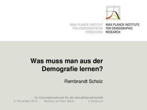 Was muss man aus der Demografie lernen?