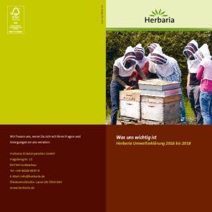 Was uns wichtig ist Herbaria Umwelterklärung 2016 bis 2018