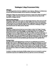 Washington College Procurement Policy