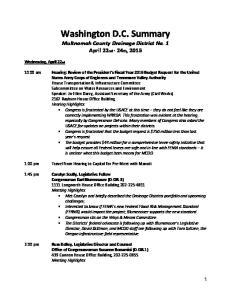 Washington D.C. Summary Multnomah County Drainage District No. 1 April 22nd - 24th, 2015