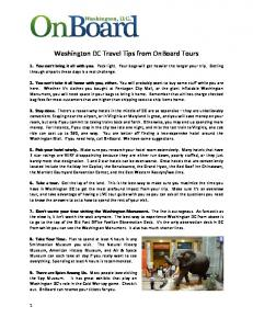 Washington DC Travel Tips from OnBoard Tours