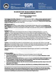 WASHINGTON MANAGEMENT SERVICE JOB ANNOUNCEMENT
