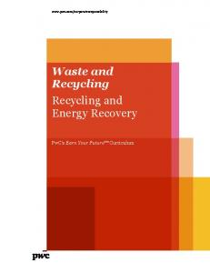Waste and Recycling Recycling and Energy Recovery