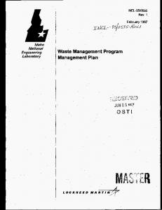 Waste Management Program Management Plan