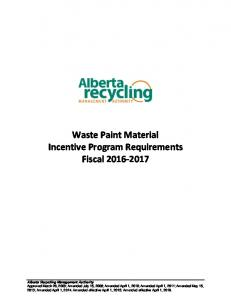Waste Paint Material Incentive Program Requirements Fiscal