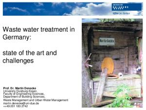 Waste water treatment in Germany: state of the art and challenges
