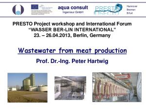Wastewater from meat production