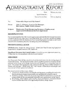 Wastewater Plant Dewatering Equipment Replacement Approval of Professional Services Agreement
