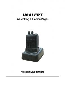 WatchDog LT Voice Pager PROGRAMMING MANUAL
