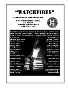 WATCHFIRES NEWSLETTER OF VVA CHAPTER 333 VIETNAM VETERANS OF AMERICA P.O. BOX 243 NEW CITY, NEW Y0RK