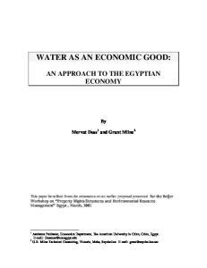 WATER AS AN ECONOMIC GOOD: