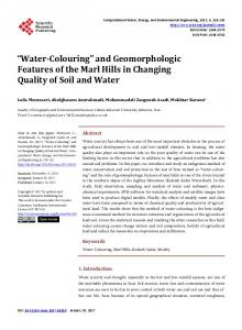 Water-Colouring and Geomorphologic Features of the Marl Hills in Changing Quality of Soil and Water
