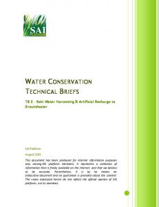 WATER CONSERVATION TECHNICAL BRIEFS