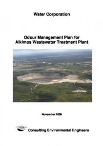 Water Corporation. Odour Management Plan for Alkimos Wastewater Treatment Plant