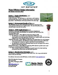 Water Efficient Design Information MP Rotator Overview Sheet