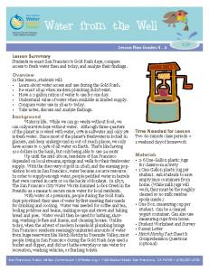 Water from the Well. Lesson Summary. Overview. Background. Time Needed for Lesson. Materials. Lesson Plan Grades 4-6
