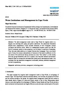 Water Institutions and Management in Cape Verde