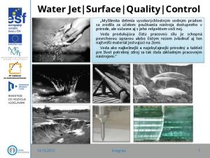 Water Jet Surface Quality Control