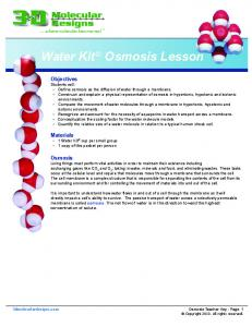Water Kit Osmosis Lesson