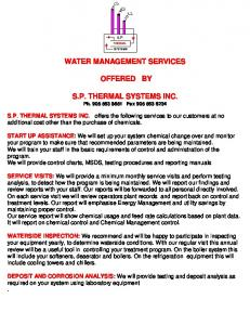 WATER MANAGEMENT SERVICES OFFERED BY. S.P. THERMAL SYSTEMS INC. Ph Fax