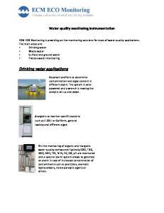 Water quality monitoring instrumentation