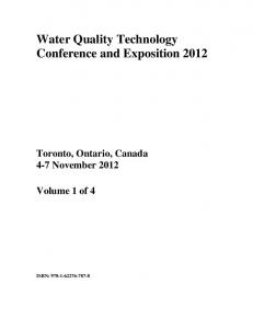 Water Quality Technology Conference and Exposition 2012