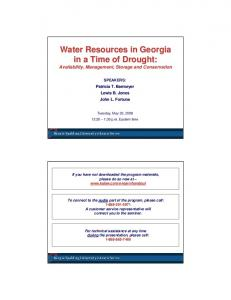 Water Resources in Georgia in a Time of Drought: Availability, Management, Storage and Conservation