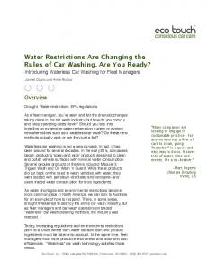 Water Restrictions Are Changing the Rules of Car Washing. Are You Ready?