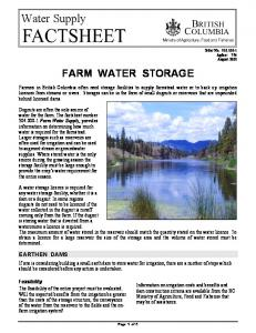 Water Supply FARM WATER STORAGE EARTHEN DAMS