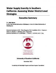 Water Supply Scarcity in Southern California: Assessing Water District Level Strategies