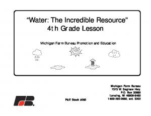 Water: The Incredible Resource 4th Grade Lesson