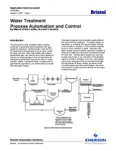 Water Treatment Process Automation and Control