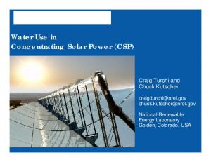 Water Use in Concentrating Solar Power (CSP)
