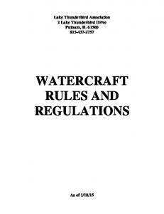 WATERCRAFT RULES AND REGULATIONS