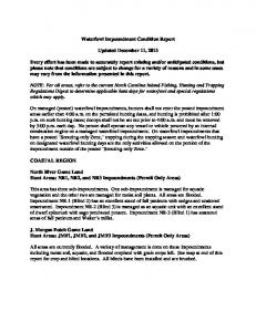 Waterfowl Impoundment Condition Report. Updated December 11, 2013