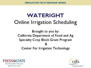 WATERIGHT Online Irrigation Scheduling